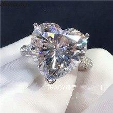 Choucong кольцо для влюбленных в сердце, 925 пробы, серебро, 4ct, AAAAA, Sona cz, обручальное кольцо, кольца для женщин, свадебные украшения