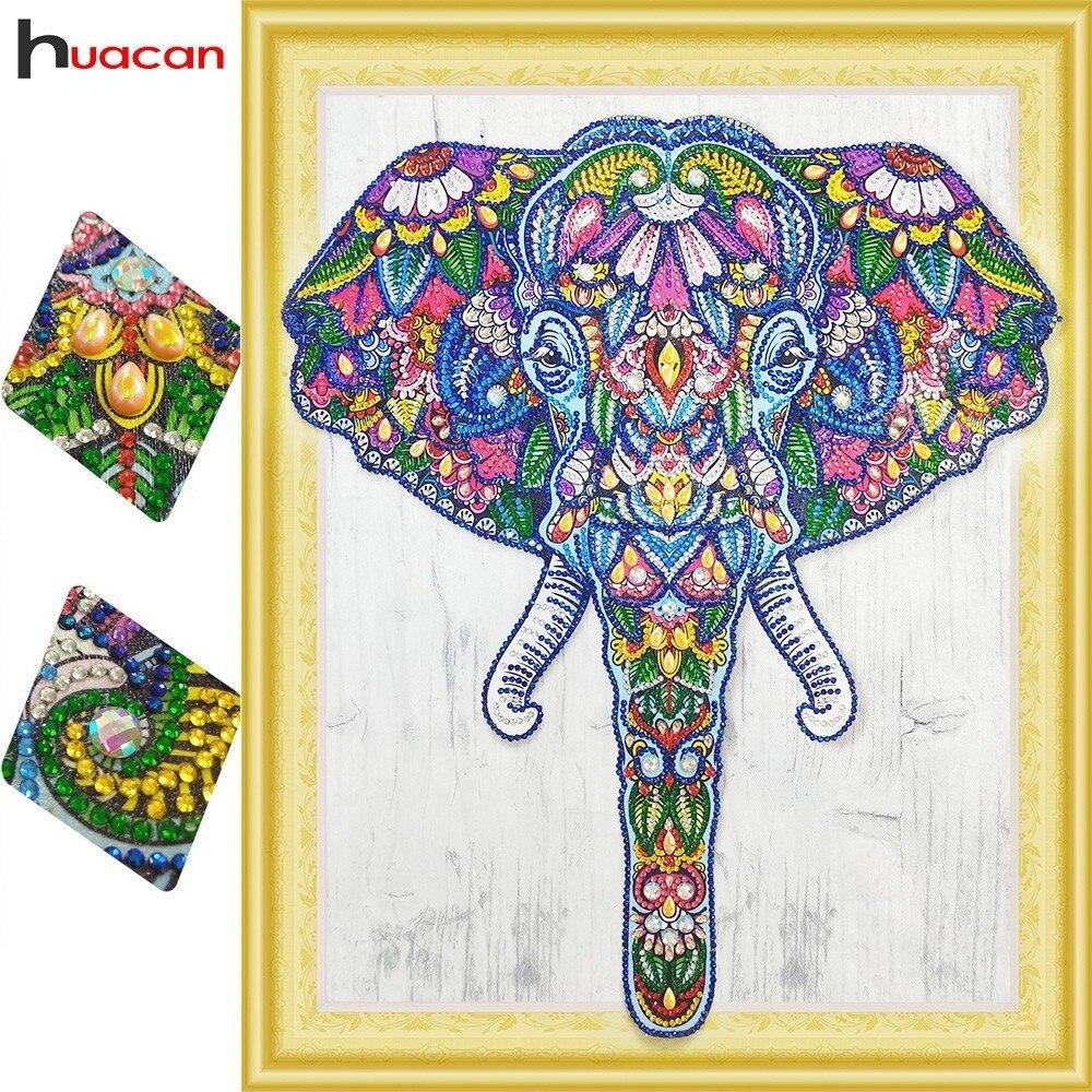 HUACAN Diamante Ricamo Elefante Speciale a Forma di Diamante Pittura Animale Foto Con Strass Mosaico Complementi Arredo Casa 40x50 cm