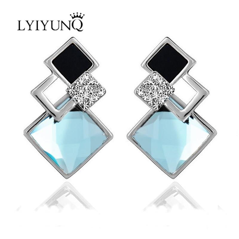 LYIYUNQ znani čisto nov modni brincov poročni nakit velik modri - Modni nakit - Fotografija 5