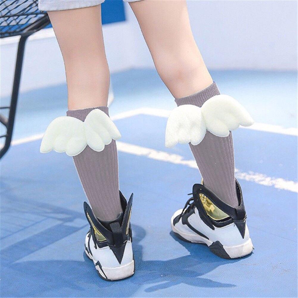 0-4Years Cute Baby Kids Toddler Girl boys Soft Knee High Leg Warmer Angel Wings Socks Super