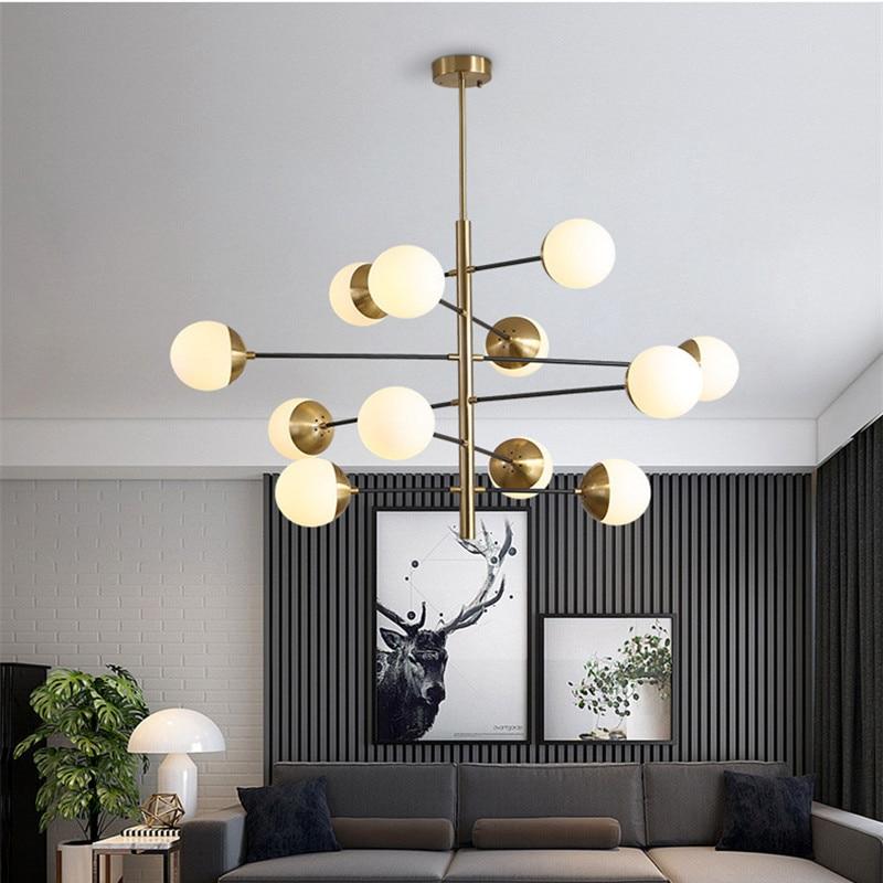 8/10/12 têtes Postmoderne Loft Moléculaire Pendentif Lumière Art Creative Designer boule en verre Villa Hôtel Hall led suspensions lumineuses