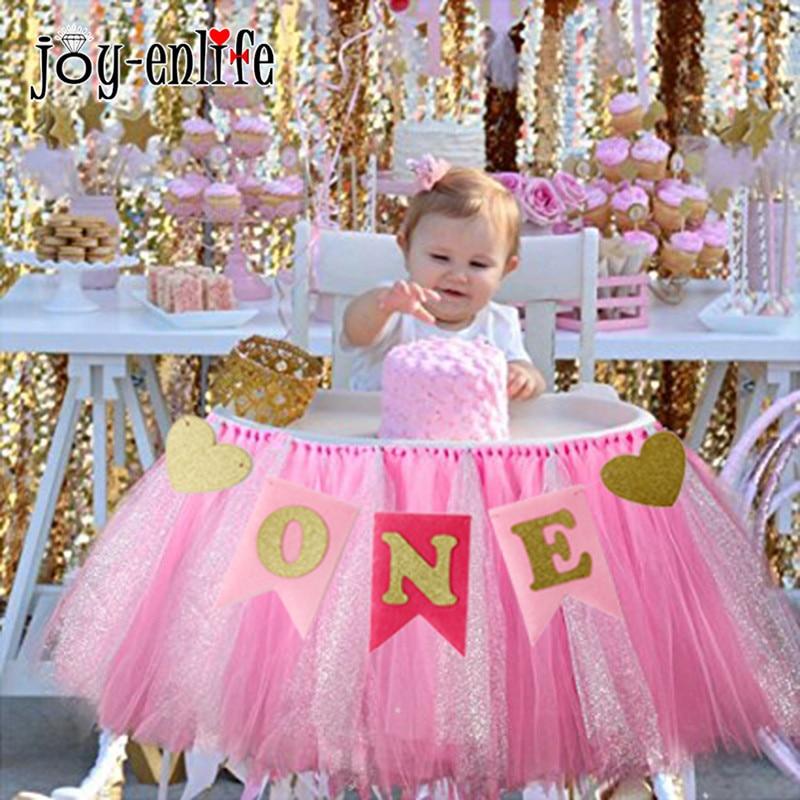 JOY-ENLIFE 1set Baby Shower Decor ONE Garland Banner Baby First Birthday Blue/Pink Banner Girl Boy 1st Bithday Party Supplies