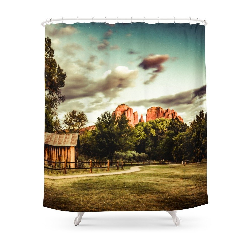 Southwest Chimney Rock Vortex Sedona Arizona Shower Curtain Custom Curtain For Bathroom Waterproof Polyester
