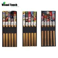 Визуальный сенсорный 5 пар Lucky Cat экологические бамбуковые палочки для еды ручной работы деревянные палочки для суши японский стиль