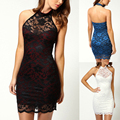 2016 New Summer Autumn Women White Black Off Shoulder Backless Lace Elegant Bodycon Evening Sexy Party Short Mini Dress Vestidos