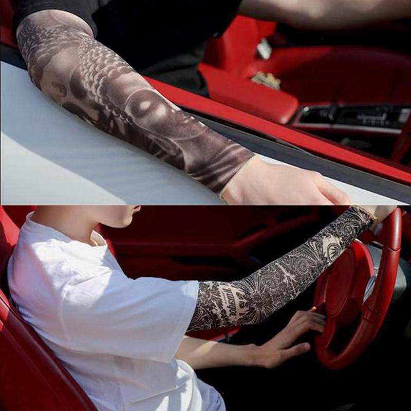 5pcs 3D Fake Tattoo Arm Sleeves Covers Case UV Sun Cooling Protection Arm Warmers Quick Dry 3d Print Unisex Workout Arm Sleeves