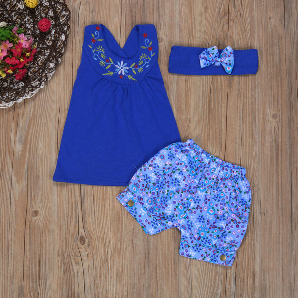 2017 Summer Baby Kids Girls Outfit Clothes Floral Vest Sleeveless T-shirt+Short Pants+Headband 1Set Casual Clothing Sets baby girls summer suits sleeveless vest shirt cute floral harem pants floral sets
