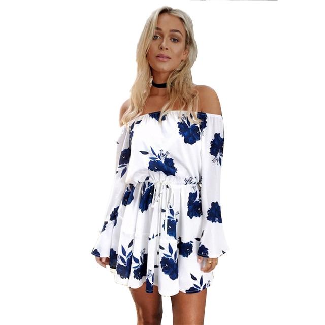 ELSVIOS 2017 Summer Floral Print Dress Sexy Off The Shoulder Slash Neck Beach Dress Casual Flare Sleeve Women Dress Vestidos