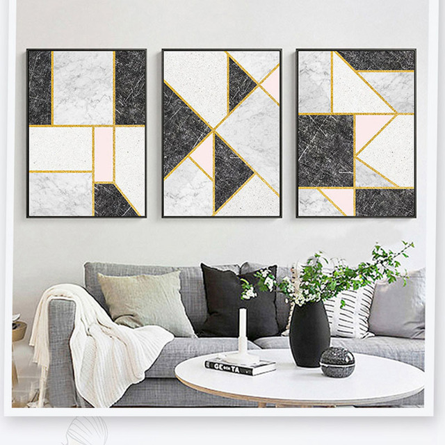 Customization Gold Lines Black White Pink Marbling Modern Artistic  Geometric Colour Block Oil Paintings Living Room