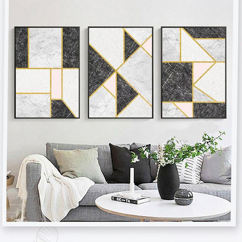 US $8.3 |Customization Gold Linien Schwarz Weiß Rosa Marmorierung Moderne  Künstlerische Geometrische Farbe Block Ölgemälde Wohnzimmer Decor in ...