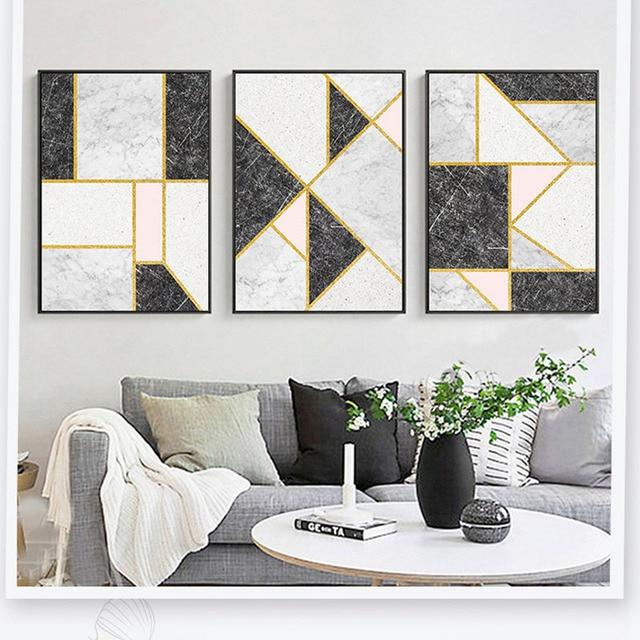 Customization Gold Linien Schwarz Weiß Rosa Marmorierung Moderne  Künstlerische Geometrische Farbe Block Ölgemälde Wohnzimmer Decor