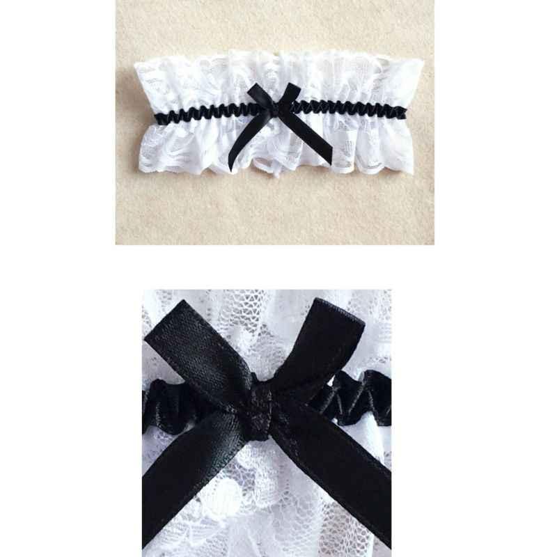 الزفاف مطاطا واسعة مطوي Ruched الفخذ الرباط حزام الأزهار شريطة من الدانتيل Bowknot النساء تأثيري الملابس الداخلية الساق حلقة حلقة