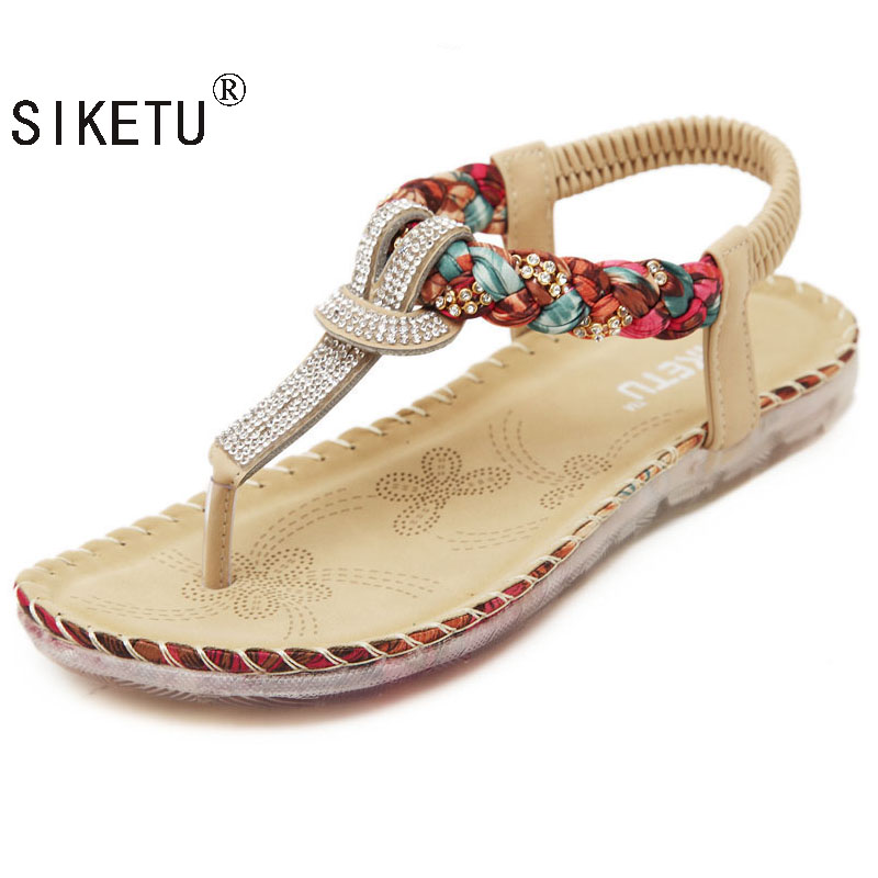 SIKETU Exquisite Diamond Bohemian National Rhinestone Fashion Flat Shoes Women Sandals Large Size Casual Shoes Summers Sandals