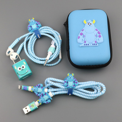 Three In One Cartoon USB Cable Earphone Protector headphones line saver For Mobile phone charging line data cable protection two in one audio earphone charging transfer cable