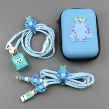 Three In One Cartoon USB Cable Earphone Protector headphones line saver For Mobile phone charging data cable protection