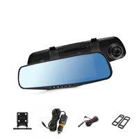 POPNOW Car Dvr Camera Led Lights Blue Rearview Mirror FHD 1080P Night Vision Video Recorder Dual