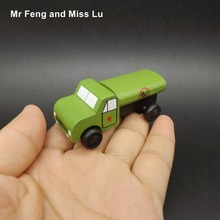 Mini Oil Tank Truck Military Vehicle Wooden Car Educational Toys Kids