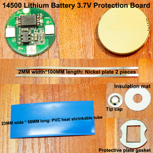 1set/lot 14500 lithium battery protection board 3.7V anti-overcharge and over discharge for 1 string polymer battery battery anti over discharge controller with time delay over protection board low voltage off load and alarm