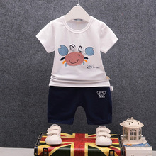 DIIMUU Infant Summer Fashion Boys Girls Clothes Toddler Newborn Cotton Cartoon Casual Outfits Short Cute Children Tracksuits