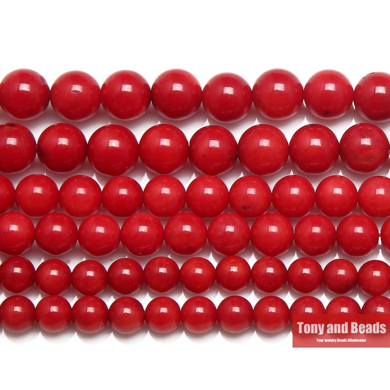 Livraison gratuite naturel rouge corail rond perles en vrac 15
