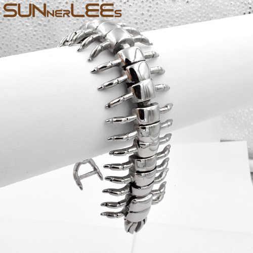 Mens הנשים פאנק תכשיטי אופנה SUNNERLEES מרבה רגליים שרשרת קישור נירוסטה צמיד SSB08