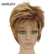 Hairjoy высокая температура синтетического волокна женщина блондинка смешанный короткое многослойное вьющиеся волосы парики Бесплатная доставка