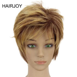 HAIRJOY Synthetic Hair Woman Blonde Short Layered Curly Wig  4 Colors Available  Free Shipping