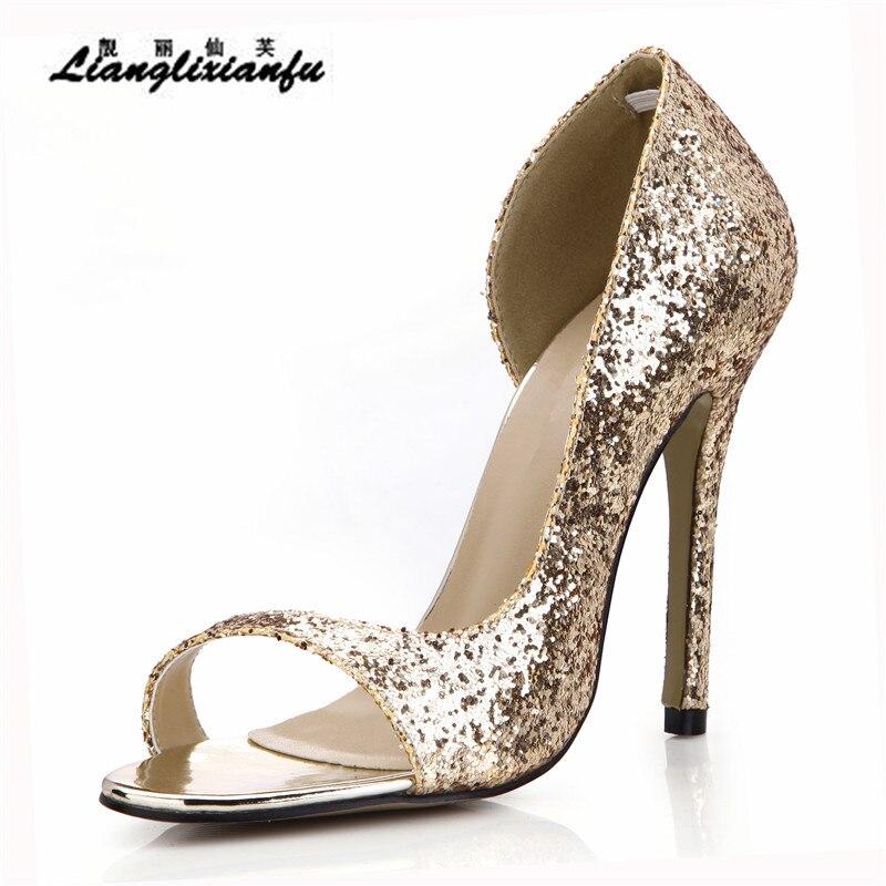 5b20a62d2f93 Alla Signore Del Spillo Caviglia Pompe Cm Sottili argento Femminili Oro  Nastro Open Cinturino Oro Toe D orsay Donna 12 Paillettes A Sandali Zapatos  Scarpe ...