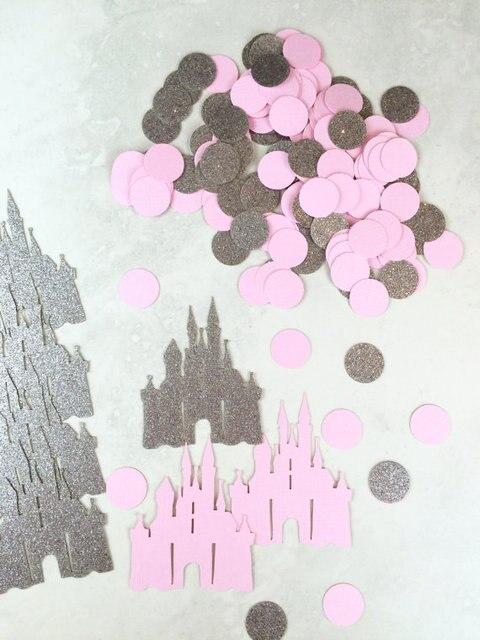 castle confetti princess confetti silver and pink party confetti baby shower table