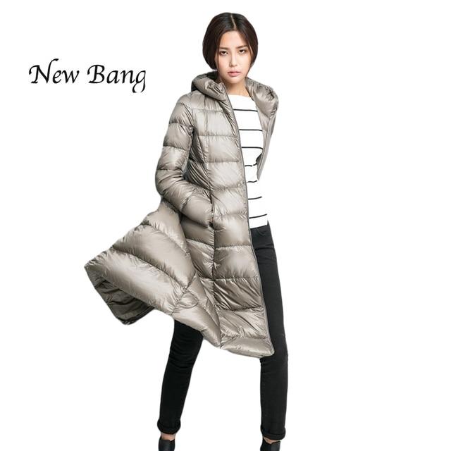 2016 Inverno Mulheres Jaqueta Ultra Light Duck Down X-Longo Fino Com Capuz Plus Size xxl Parka chaquetas mujer