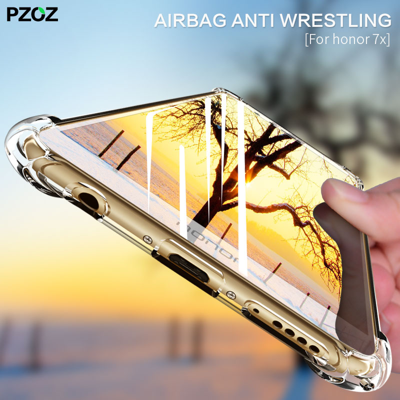 PZOZ For Huawei Honor 7X Case Cover 2017 Shell Bumper 360 Shockproof Silicon Transparent Housing For Huawei Honor 7 X Play Case ...