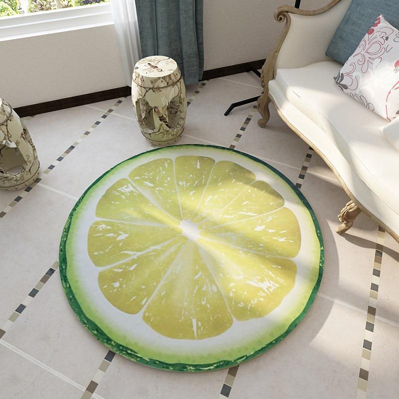 Круглый ковер, 3D принт, земля, фрукты, мягкие ковры, Противоскользящие коврики, компьютерное кресло, коврик для пола, для детской комнаты, домашний декор, 60-200 см - Цвет: lemon