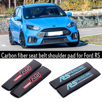 Embroidery Rallye Sport logo Car carbon fiber seat belt cover shoulder pad for ford focus 2 3 fiesta ranger fusion accessories image