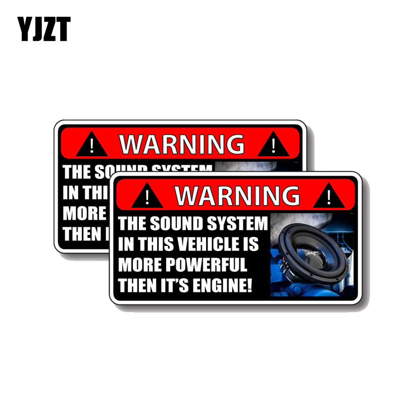 YJZT 2X 12.5CM*6.2CM The Sound System IN THIS VEHICLE IS MORE POWERFUL THEN IT'S ENGINE Decal Car Sticker PVC 12-0379