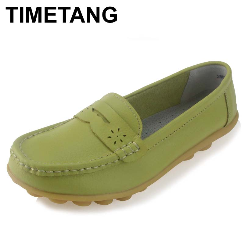 TIMETANG Women Real Leather Shoes Moccasins Mother Loafers Soft Leisure Flats Female Driving Casual Footwear Size In 4 Colors 2017 new shoes women genuine leather flats fashion mixed colors casual soft mother loafers moccasins female driving flat shoes