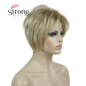 Image 3 - StrongBeauty Short Layered Blonde Thick Fluffy Full Synthetic Wig Heat Ok