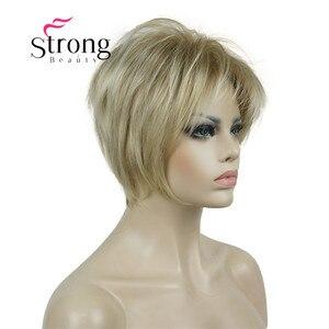 Image 3 - Strongbeauty 짧은 계층화 된 금발 두꺼운 솜털 전체 합성 가발 열 ok