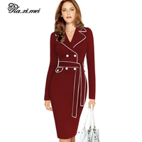 Spring New European And American Fashion Elegant Lady Dress European Station Suit Collar Color Pencil Skir