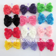 Free shipping 40pcslot Childrens Chiffon Rose Flower BowsBaby toddler girls Hair Accessories Hair Bows DIY Hair accessories