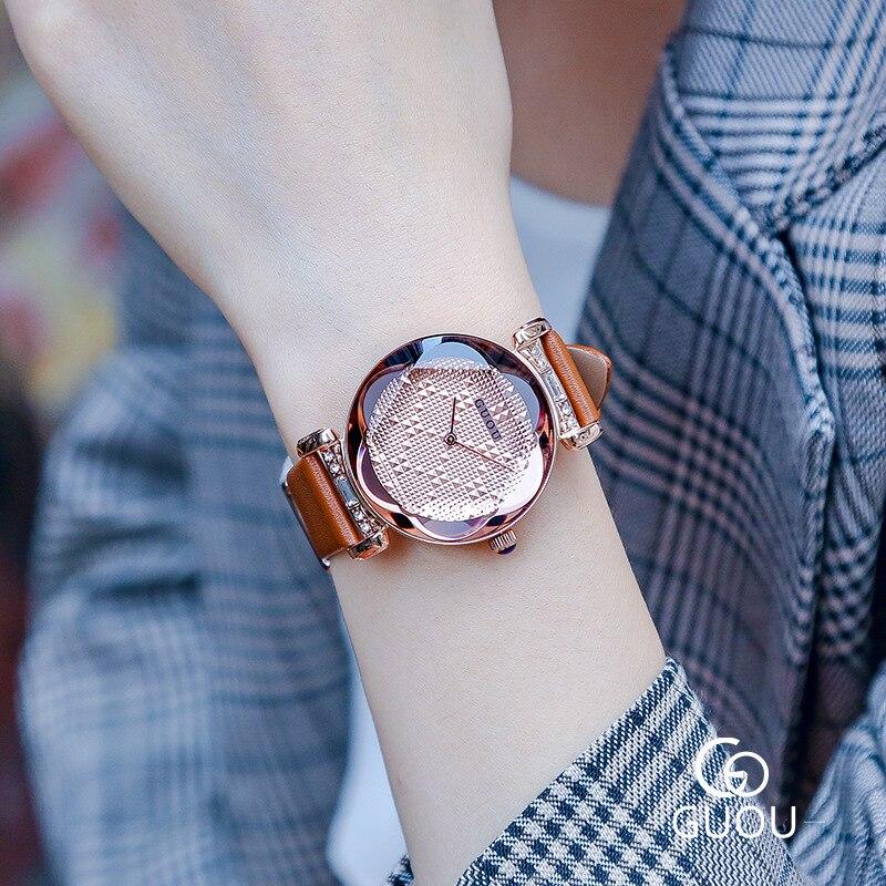 Золотой Модные Простые Женские часы с кожаным ремешком, кварцевые, на ремешке Водонепроницаемый женские часы g6603