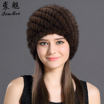 1904908457a Check prices Mink Fur Beanies Hat Flowers Heart 2018 Newest Natural Rabbit  Fur Russian Knitting Real