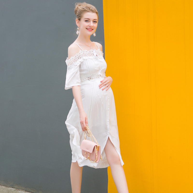 American New 2018 Summer Maternity Sashes Neck Off Shoulder Lace Patchwork Dress Pregnant Split Personality Fashion Casual Dress white casual round neck ruffled dress