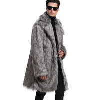 Lanshifei Autumn Winter Jacket Men Thick Fleece Coat Fur Collar Baseball Jacket Men Plus Size Faux Wolf Fur Coat Man Down Coat