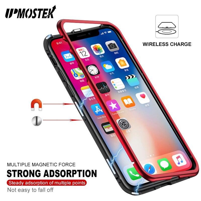UPMOSTEK Forte Adsorbimento Magnetico di Caso Per il iphone X 8 Struttura In Metallo Vetro temperato di Caso Per il iphone 7 8 Plus Built-In Magnete Caso
