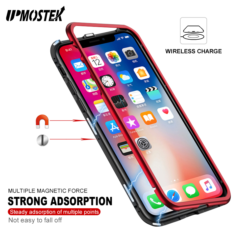 UPMOSTEK Strong Magnetic Adsorption Case For iPhone X 8 Metal Frame Tempered Glass Case For iPhone 7 8 Plus Built-in Magnet Case