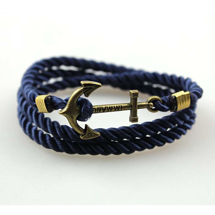 2017 Jewelry Fashion Friendship Charm Anchor Suede Leather Bracelet Bangles  For Women And Men(china