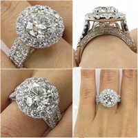 14K White Gold Diamond Rings Jewelry for Women Bizuteria Anillos Bague Jaune Ring Diamante Diamond Gemstone 2 carats topaz rings