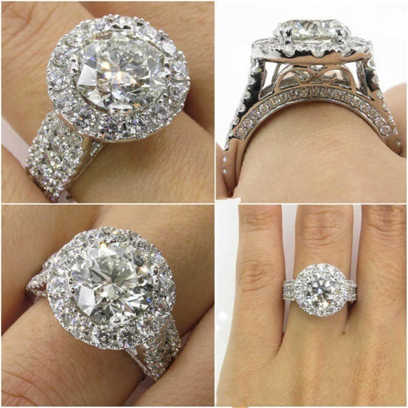 14K สีขาวทองเพชรเครื่องประดับสำหรับผู้หญิง Bizuteria Anillos Bague Jaune แหวนเพชรอัญมณี 2 กะรัต Topaz แหวน