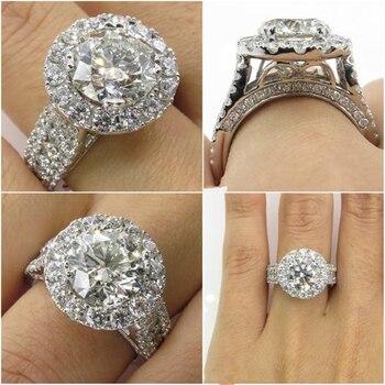 14K White Gold Diamond Rings Jewelry for Women Bizuteria Anillos Bague Ring bague diamant Gemstone 2 carats topaz Diamond rings