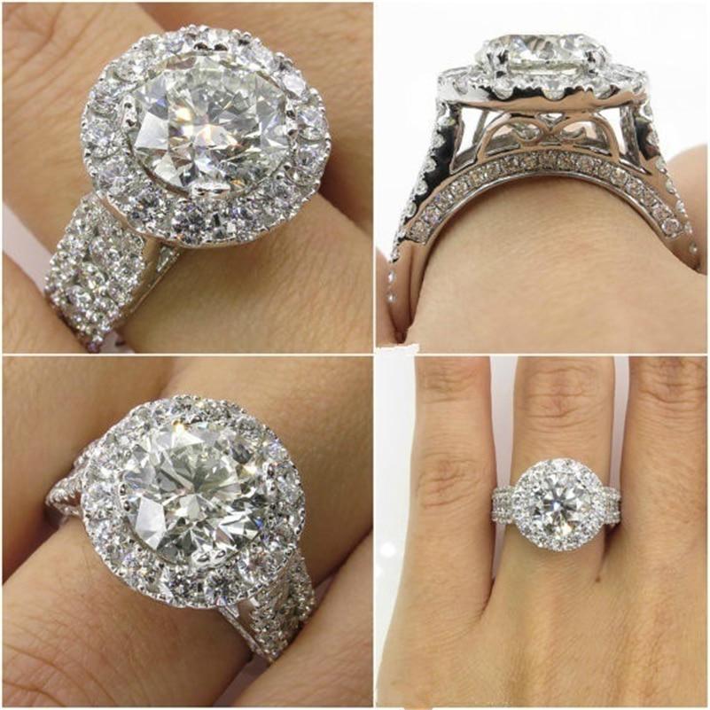 14K White Gold Diamond Rings Jewelry for Women Bizuteria Anillos Bague Ring diamant 2 carats topaz Diamond ring anel jewellery(China)